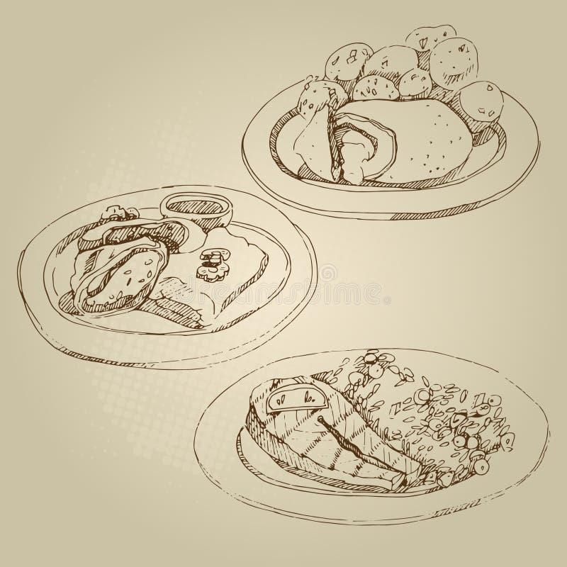 Russisches nationales traditionelles Küchenkotelett Kiew und gedämpfte Kartoffeln, Kohlrollen, angefüllter Kohl lizenzfreie stockfotos