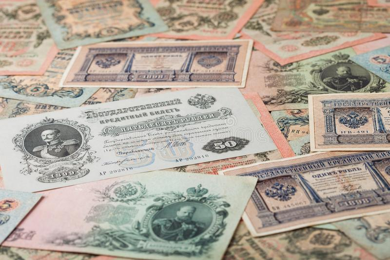 Russisches Reich alte Rubel aus Zar Nicholas 2 Rubeln mit verschiedenen Unterschriften Sammelobjekte unzirkuliert stockfotos