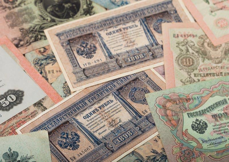 Russisches Reich alte Rubel aus Zar Nicholas 2 Rubeln mit verschiedenen Unterschriften Sammelobjekte unzirkuliert lizenzfreies stockbild