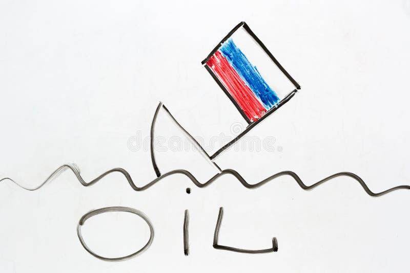 Russisches Schiff, das als Symbol der russischen Wirtschaft abfallend sinkt stock abbildung
