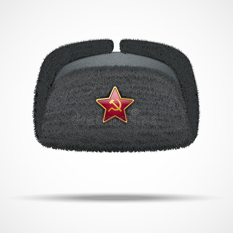 Russisches schwarzes Winterpelzhut ushanka mit rotem Stern stock abbildung
