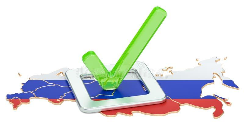 Russisches Wahlkonzept, Abstimmung in Russland, Wiedergabe 3D vektor abbildung