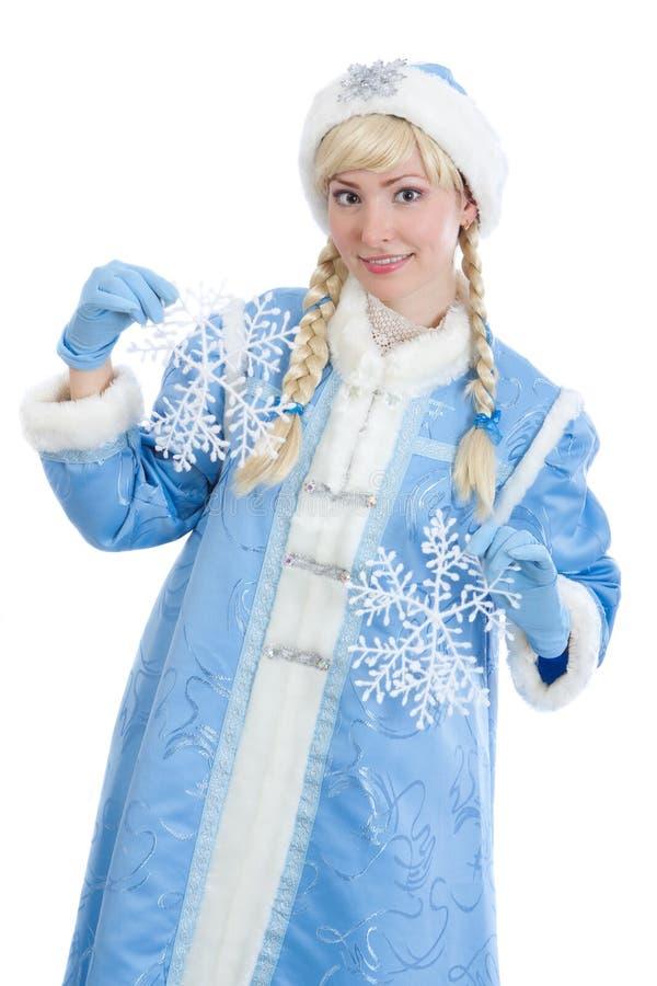 Russisches Weihnachtsmädchen mit Flocke des Schnees stockbild