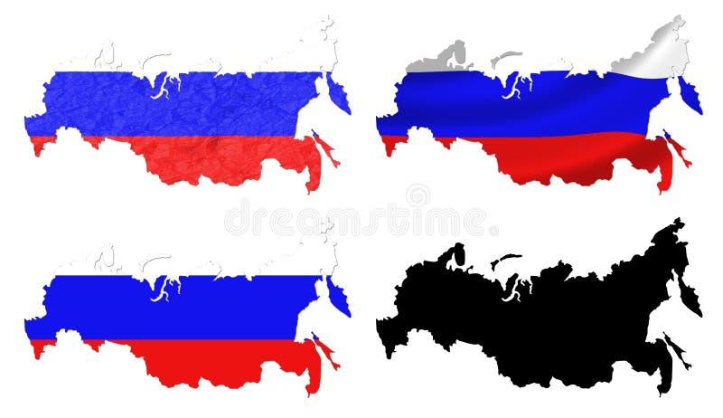 Russland-Flagge über Kartencollage lizenzfreie abbildung