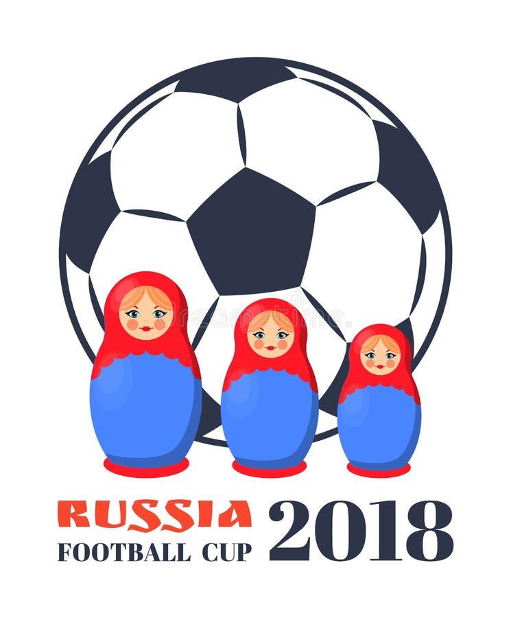 Russland-Fußball-Cup-Puppen-Vektor-Illustration lizenzfreie abbildung