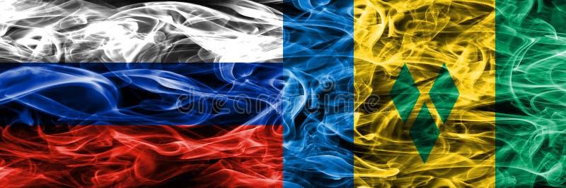 Russland gegen St. Vincent und die Grenadinen Rauchflaggen setzte Si vektor abbildung
