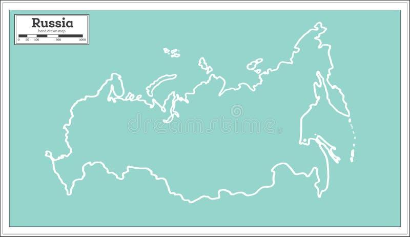 Russland-Karte im Retrostil Antilocapra Americana lizenzfreie abbildung