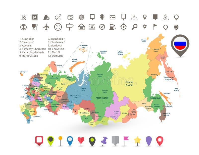 Russland-Karte mit Flaggen- und Navigationsikonen stock abbildung
