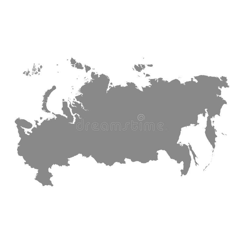 Russland-Kartenikone Auch im corel abgehobenen Betrag Grau auf einem wei?en Hintergrund vektor abbildung