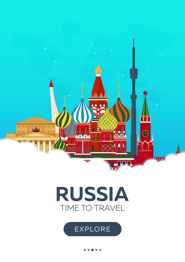 Russland moskau Zeit zu reisen Reise-Plakat Flache Illustration des Vektors vektor abbildung