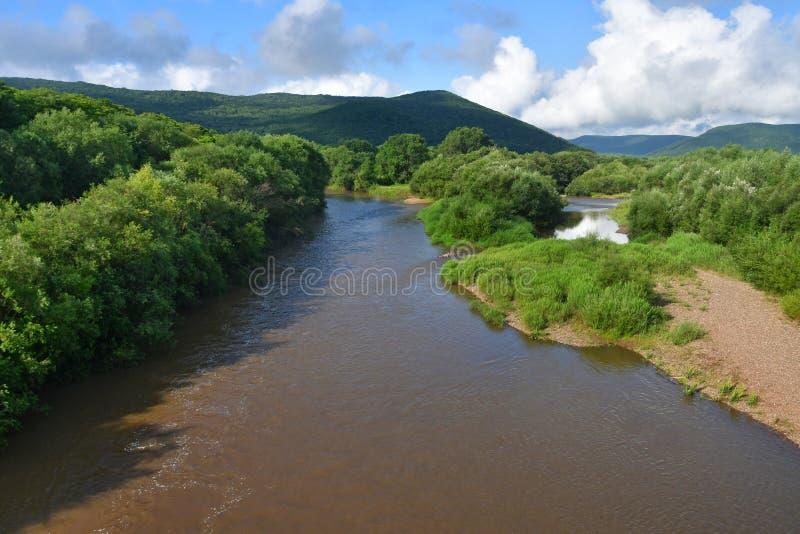 Russland, Primorsky Krai, Fluss Arsenievka Arsenyevka im August stockfoto