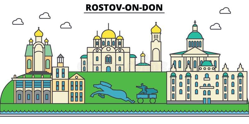 RUSSLAND, ROSTOV ON DON Stadtskyline, Architektur, Gebäude, Straßen, Schattenbild, Landschaft, Panorama, Marksteine lizenzfreie abbildung