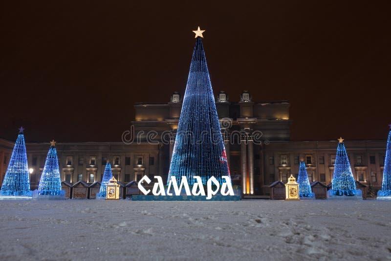 RUSSLAND, SAMARA am 20. Januar 2019 Weihnachtsbaum auf dem Quadrat genannt nach Kuibyshev im Samara stockfoto