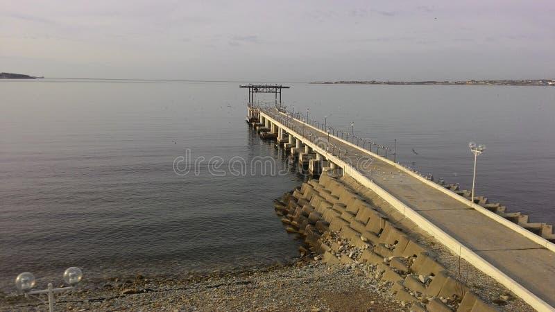 Russland Schwarzes Meer Gelendzhik pier Seemöwe streetlight lizenzfreies stockbild
