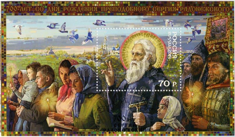 RUSSLAND - 2014: zeigt Ehrwürdiger Sergius von Radonezh 1314-1392, 700. Geburtstag, Reihe der Geschichte der Kirche lizenzfreies stockfoto