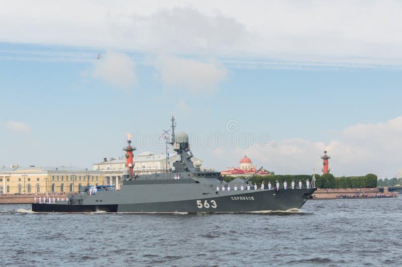 Russland, St Petersburg, am 30. Juli 2017 - Tagesparade Marine klein lizenzfreies stockbild