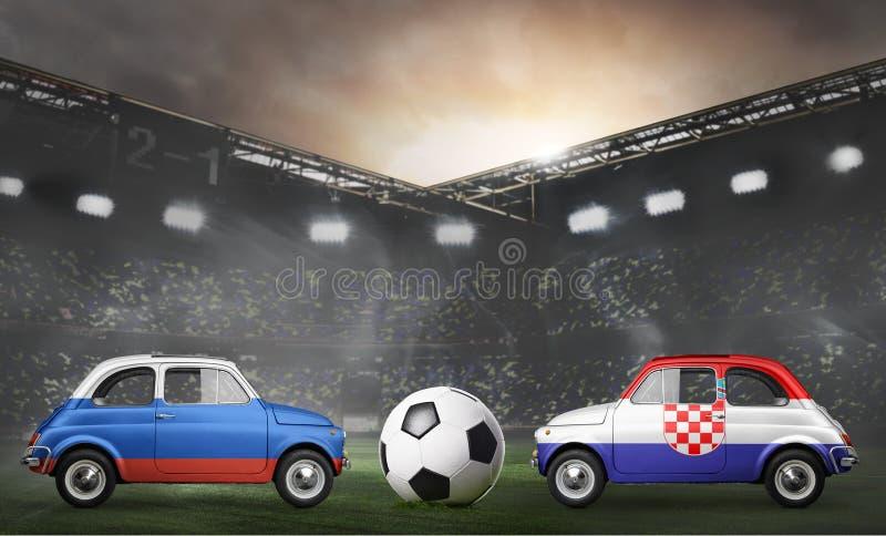 Russland- und Kroatien-Autos auf Fußballstadion stockfoto