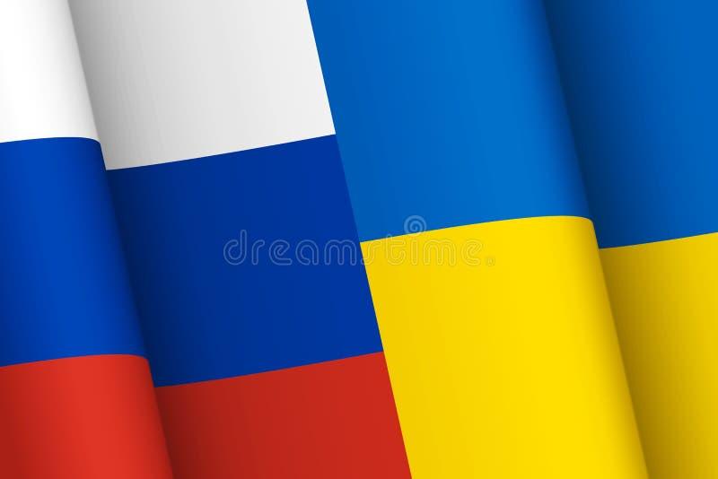 Russland- und Ukraine-Flaggen lizenzfreie abbildung