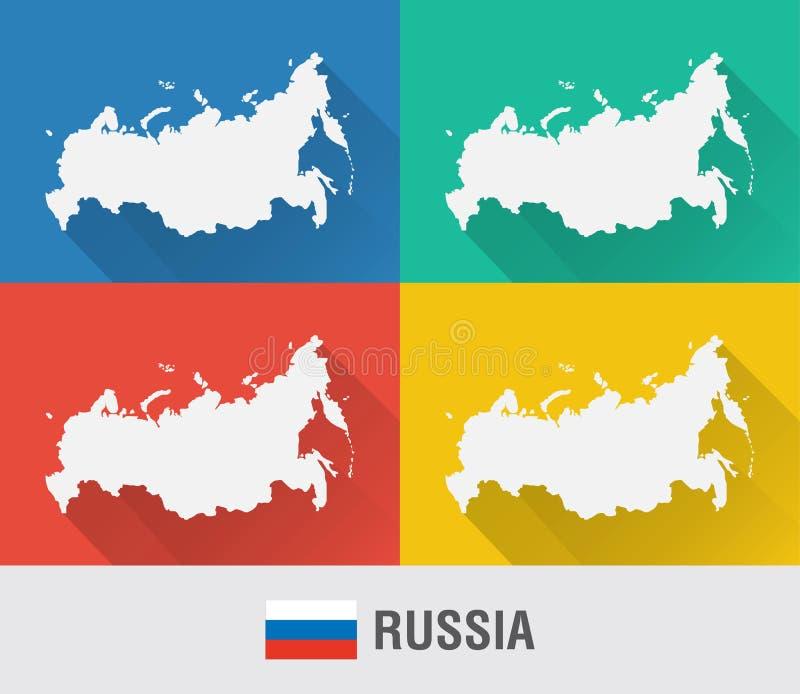 Russland-Weltkarte in der flachen Art mit 4 Farben stock abbildung