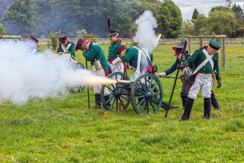 Russo Pruisische Artillerie, Napoleonic Oorlogen royalty-vrije stock foto