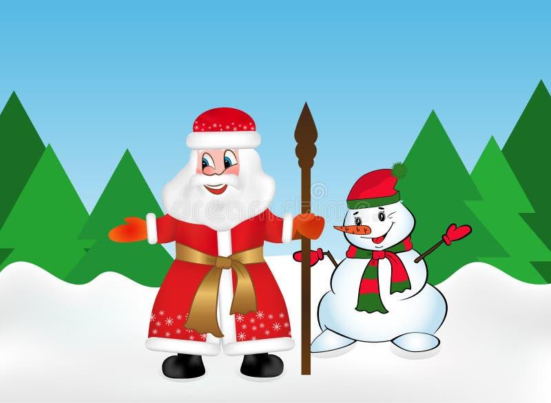 Russo Santa Claus ou pai Frost igualmente conhecido como Ded Moroz com pessoal e boneco de neve na floresta da neve no fundo ilustração royalty free