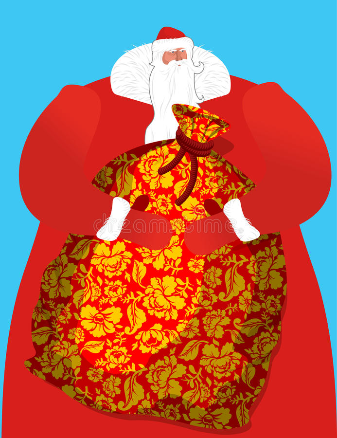 Russo Santa - gene o grande saco da geada dos presentes para crianças S ilustração stock