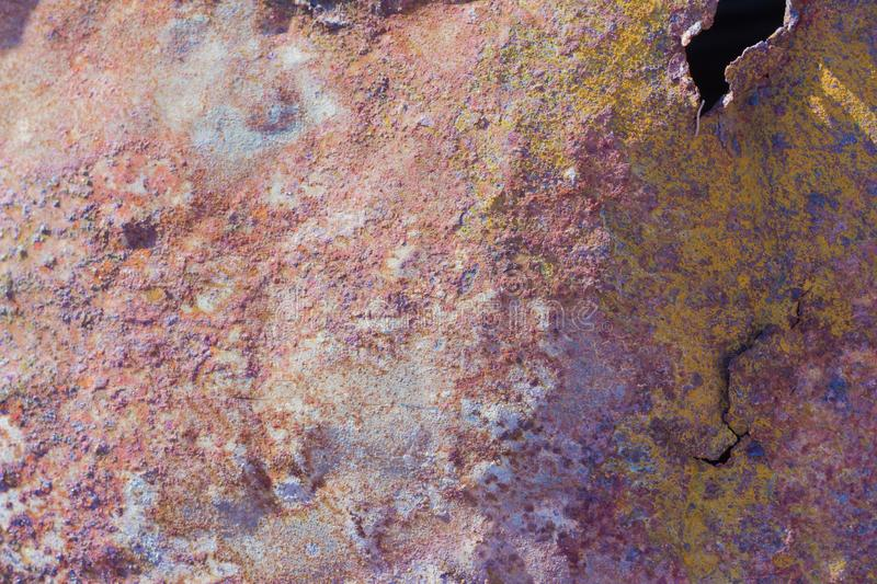 Rust, background, texture of old rusty metal with holes royalty free stock photo