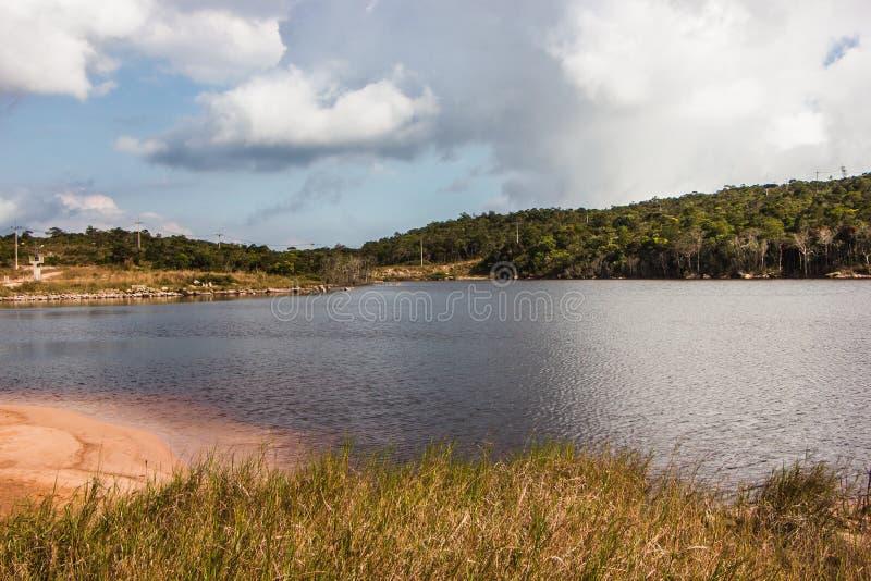 Rust bij het meer in het groene hout royalty-vrije stock foto