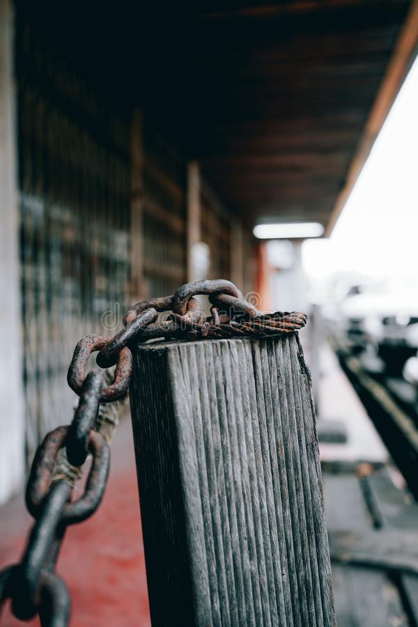 Rust chain, pontianak Indonesia, 30/10/2019, the rust chain bears witness to street life. 30102019 royalty free stock images