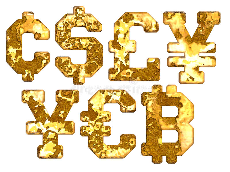 Old Rust Currency Sign Decaying Textures Stock Photo Illustration