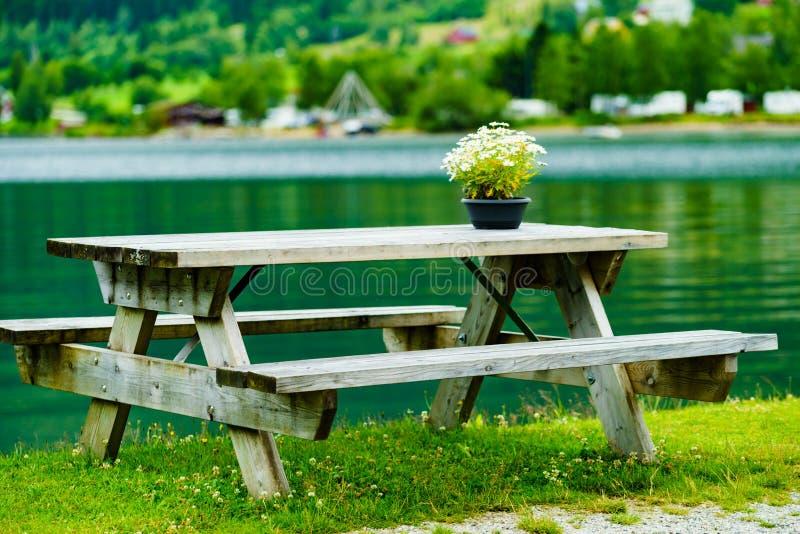 Rust de picknickplaats van het eindegebied op fjordkust royalty-vrije stock foto