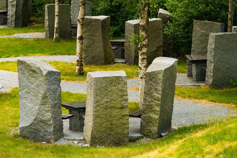 Rust de plaats van de de steenpicknick van het eindegebied, Noorwegen stock foto's
