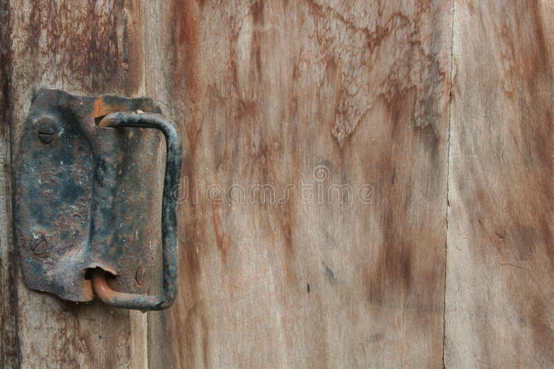 The rust Door hinges and beautiful wooden. stock photos