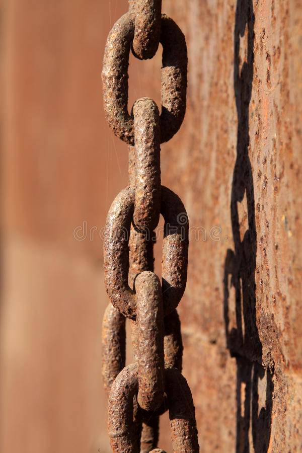 Rust iron chains. Closeup of rust iron chains royalty free stock images