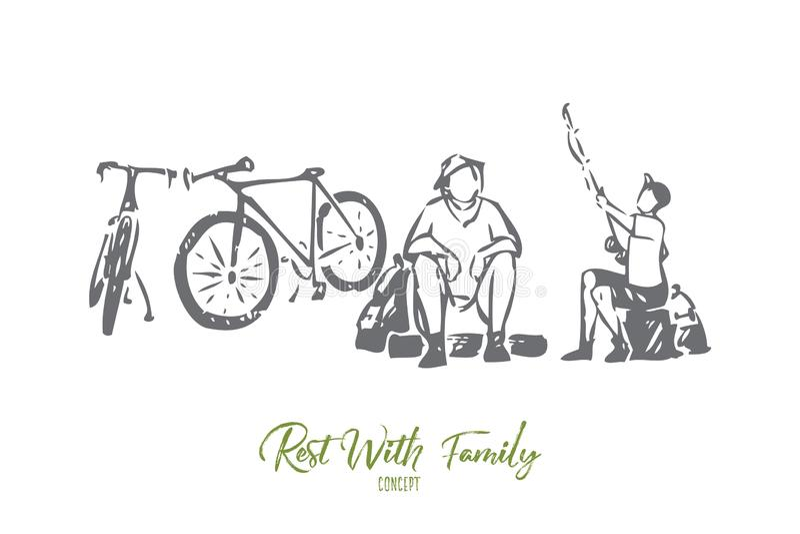 Rust met de schets van het familieconcept Ge?soleerdee vectorillustratie vector illustratie