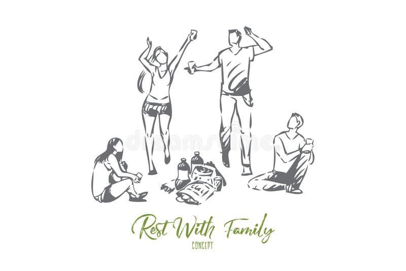 Rust met de schets van het vriendenconcept Ge?soleerdee vectorillustratie royalty-vrije illustratie