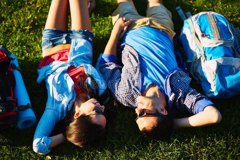 Rust op gras stock fotografie