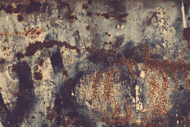 Rust texture. Colorful Rusty old scratched metal textured background stock image