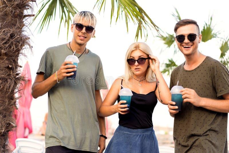 Rust van het drie vrienden drinkt de vrolijke bedrijf op een tropisch strand en cocktails; zeer; tijdschriftconcept stock afbeelding
