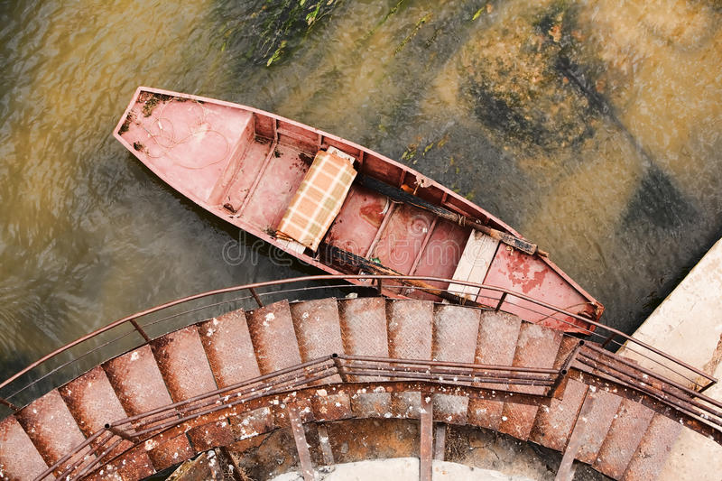 Rusted Boat High Angle View stock photo