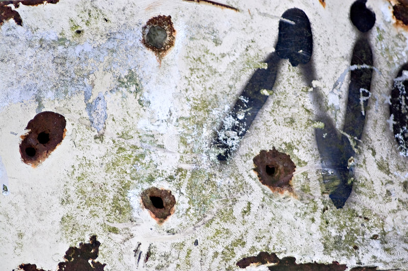 Download Rusted Bullet Holes stock image. Image of brown, graffitti - 7130983