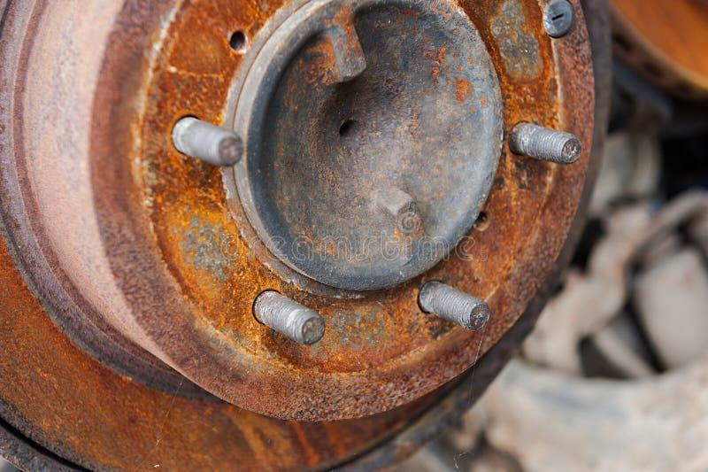 Rusted car brake disc. Close up royalty free stock image