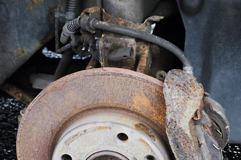Rusted car rim scrap metal stock photos