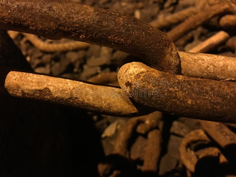 Rusted Chain Links of My Heart. Rusted Dirty Big Chain Links Joined stock photography
