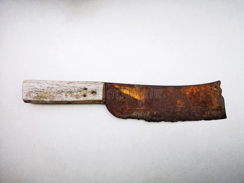 Rusted Chopper Knife. 1 old rusty knife set on a white background stock photo