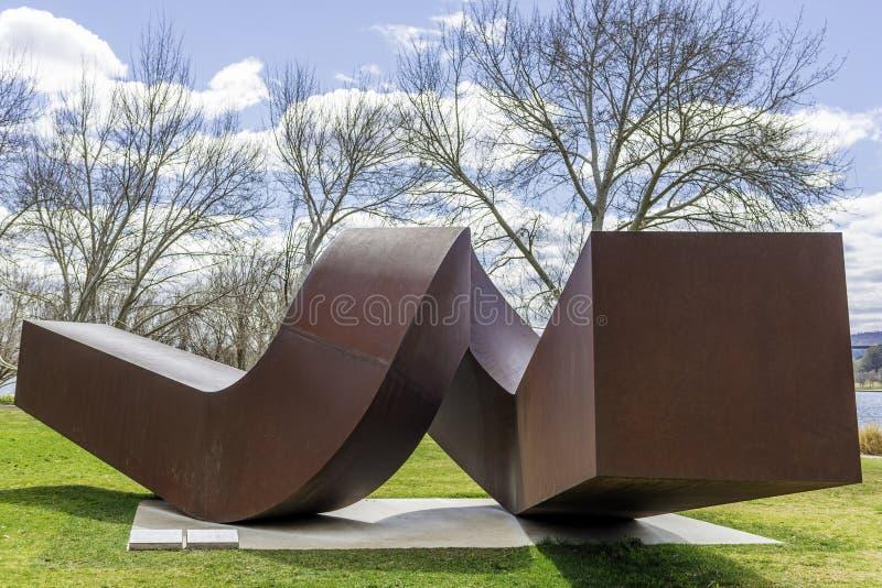 """Rusted corten стальная вызванная скульптура """"Вирджинией """" стоковое фото"""
