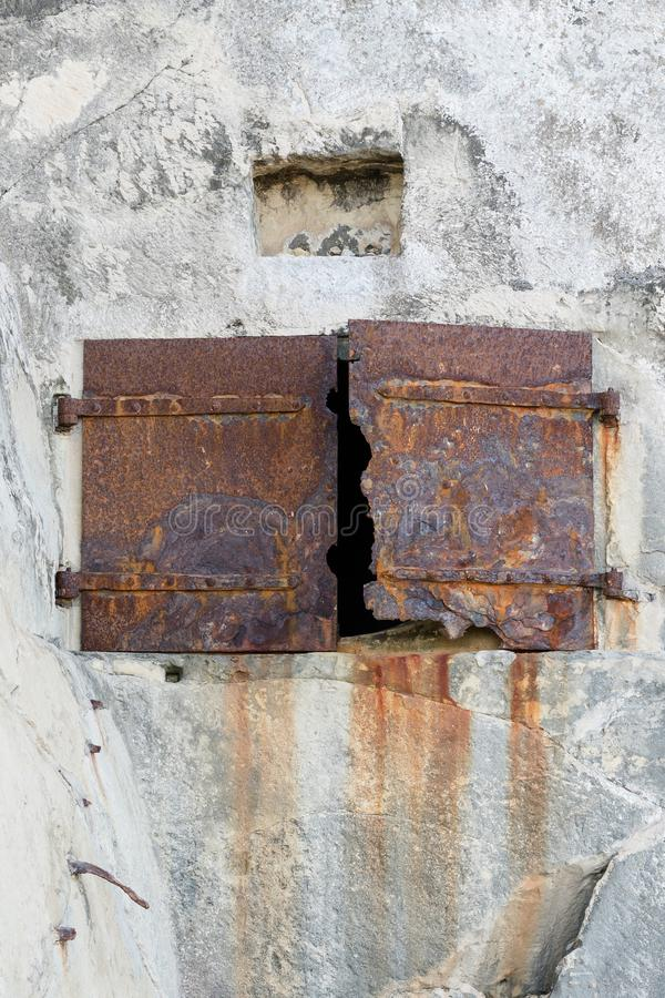 Rusted doors in the rocks of Fort Saint Elmo, Valetta, Malta royalty free stock photos