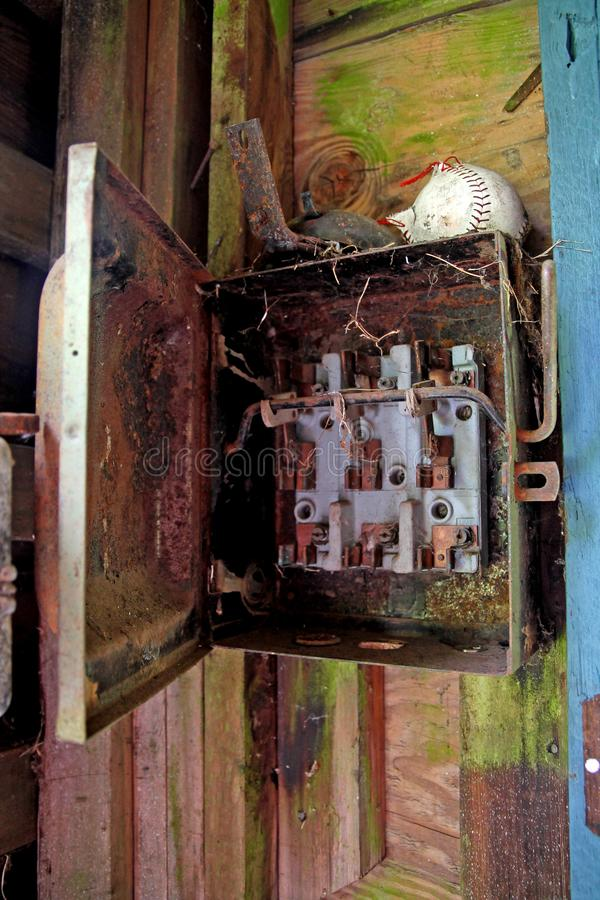 Rusted electrical panel royalty free stock photography