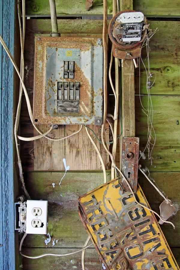Rusted electrical panel stock image