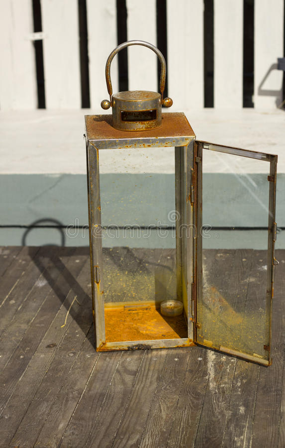 Rusted garden lantern royalty free stock photo